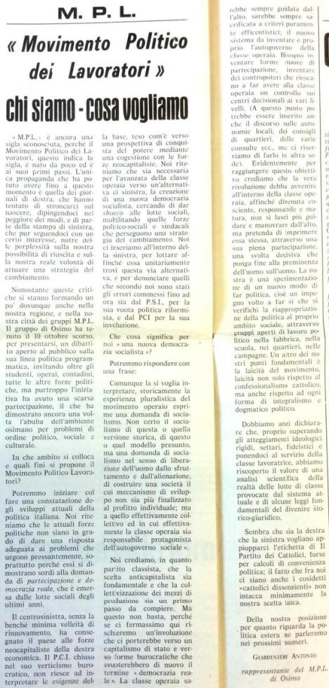 1972 si costituisce in Osimo MPL