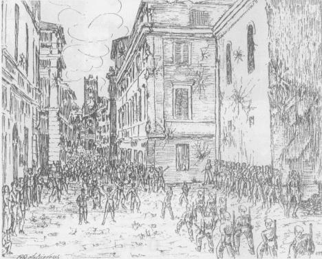 1944 Romolo Augusto Schiavoni  rappresenta la trionfale sfilata per il Corso